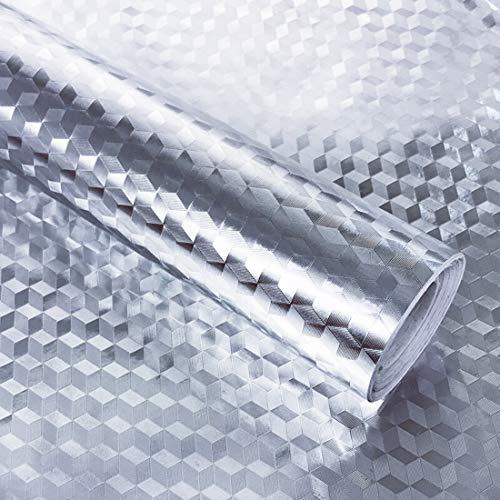 Hode Aluminium Küchen Folie Selbstklebende Klebefolie Möbel Dekorfolie Küchenfolie Hitzebeständige Möbelfolie für Arbeitsplatte Küchenschrank Wasserdicht ölbeständige Silber Prisma 40X300cm