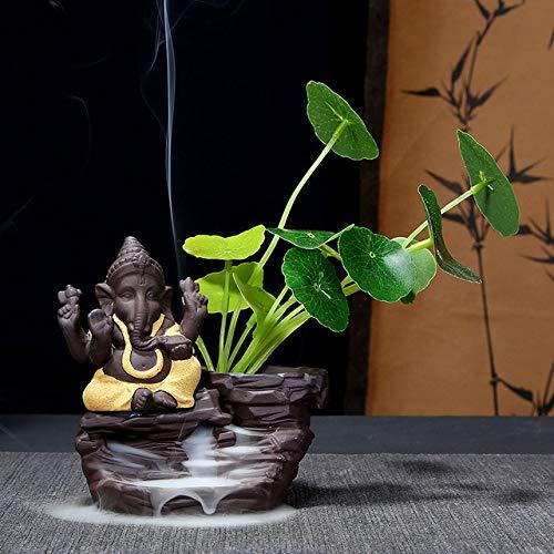 ZFLL Boeddha olifant hoofd god bloempot terugstroming wierook brander Boeddhist lila zand stromend water olifant Ganesha Boeddhisme decoratie geel