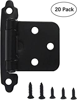 Hardware 1/2 Inch Face Mount Self Closing Variable Overlay Black Kitchen Door Cabinet Hinges, 20 Pack(10 Pairs)