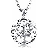 CELESTIA s925 Estampado Plata de Ley Céltica del árbol de La Vida Colgante Collar de Cadena de Joyería Antiguo para Niñas Mujeres