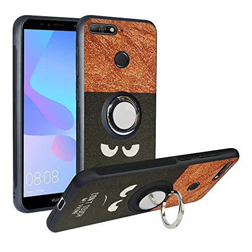 Funda para Huawei Y6 2018, Fashion Design [Antigolpes] con 360 Anillo iman Soporte, Resistente a los arañazos TPU Funda Protectora Case Cover para Honor 7A /Y6 Prime 2018,Do Not Touch
