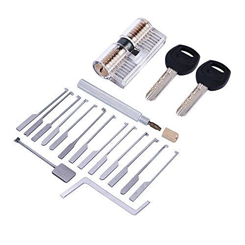 Lockmall 14 herramientas de cerrajería Kaba con cerradura de cilindro transparente (17 piezas, AB KABA)