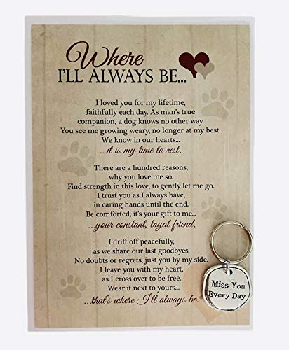 Where Ill Always Be Pet Loss Sentiment with Keychain - Heartfelt Pet Sympathy/Pet Memorial Gift (Dog)