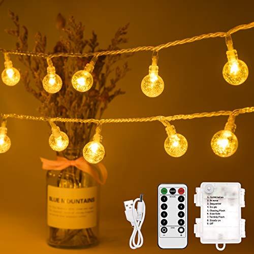 Kugel Lichterkette 10M 100 LED Lichterkette mit Batterie/USB mit Fernbedienung, Warmweiß Globe Lichterkette Innen Außen Perfekt für Garten, Partys,Weihnachten, Timing, IP44 Wasserdicht