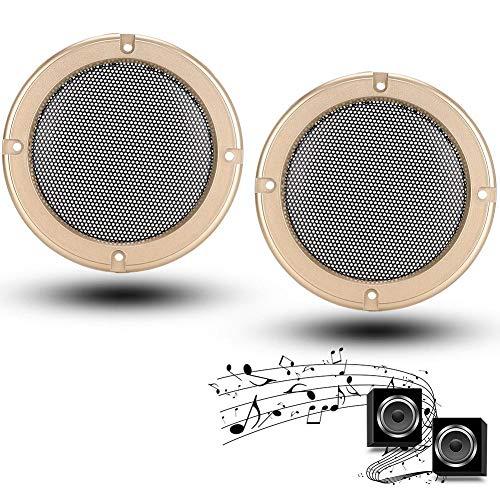 2 stks 8in Audio Decoratieve Cover Speaker Grills Schadebestendige Luidspreker Autoluidsprekers Beschermende Metalen Grille Cover Circle Covers (Goud + Zwart)