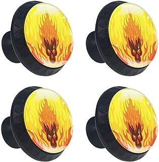 Flaming Fire Skull Jaune Orange Boutons D'armoire 4 Pcs Poignés Poignée De Champignons Boutons D'aluminium Porte Poignées ...