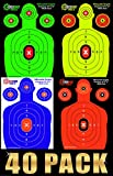 EASYSHOT Shooting Targets – 18 x 12-inch Premium Targets for Shooting – Highly Visible Neon Silhouette Targets – Heavy-Duty Paper Targets for Shooting in Short and Long Range (100, Multi Color)