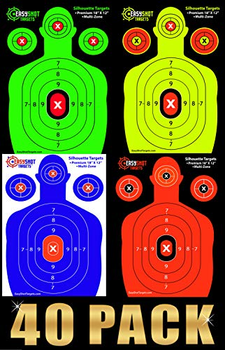 EasyShot Premium Shooting Targets: Fluorescent Orange, Neon Green, Electric Blue and Neon Yellow. Easy to See Your Shots Land, Heavy-Duty Silhouette Paper Sheets Targets