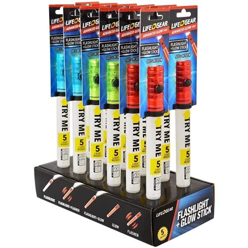 Life Gear - Torcia a LED riutilizzabile e resistente all'acqua, 6 in 1, con fischietto di emergenza (rosso + verde + blu)