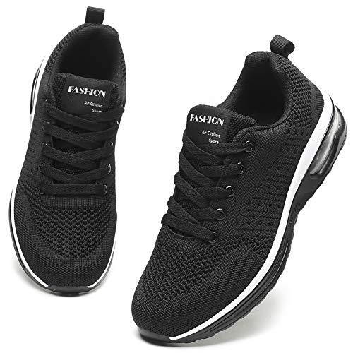 GAXmi Zapatillas Deportivas Mujer Zapatos de Malla Transpirables y Ligeros con Cordones y Cojín de Aire para Running Fitness Potenciar Negro 40 EU