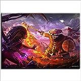 JieXi Mi binbin Pintura al óleo Pintura Decorativa DIY Starcraft Diablo Diablo Demon Hunter Panda Pintura Digital a Mano Restaurante Café 40x60cm con Marco
