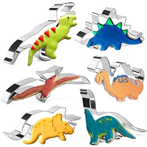 KAISHANE Dinosaurier Ausstechformen Set für Kinder 6 Stück Edelstahl Biskuitform Backen Gebäck Kuchen Dekoration