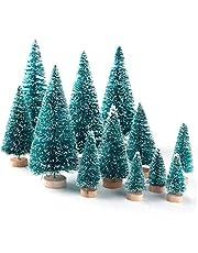 12pcs Mini albero di Natale in miniatura Pino Piccolo Sisal alberi con la neve e legno Base per Natale Home decorazioneCasa giardinaggio