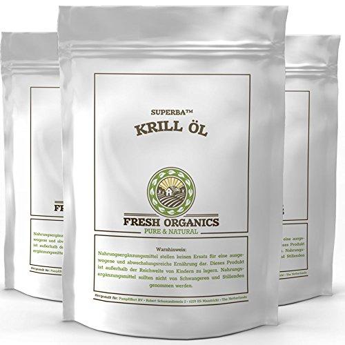 Original SUPERBA KRILL ÖL | 270 (3 x 90) Kapseln á 500mg | KRILLÖL | Natürliche Antioxidant | Astaxanthin | Reich an Omega Fettsäuren | Hoher Gehalt an DHA + EPA | PREMIUM QUALITÄT