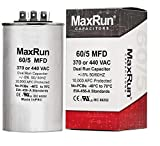 MAXRUN 60+5 MFD uf 370 or 440 Volt VAC Round Motor Dual Run Capacitor for AC Air Conditioner Condenser - 60/5 uf MFD 440V Straight Cool or Heat Pump - Will Run AC Motor and Fan - 5 Year Warranty