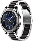 22 Correa de Reloj Compatible con Huawei Watch GT/GT2 46mm/Samsung Galaxy Watch 3 45mm/Watch 46mm/Gear S3 Frontier/Garmin Vivoactive 4 Correas Acero Inoxidable Banda (Plata/Negro)