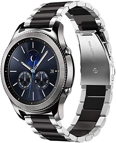 Correa de Metal Compatible con Huawei Watch GT/GT2 42mm/Samsung Galaxy Watch 42mm/Galaxy Watch Active 2/Galaxy Watch 3 41mm Correa Acero Inoxidable Banda de Repuesto para Hombre/Mujer-Plata/Negro