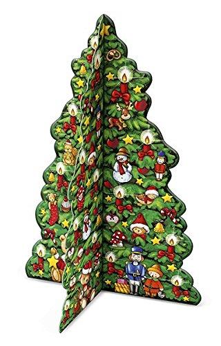 Buntes Weihnachtsbäumchen: Adventskalender zum Aufstellen mit beidseitigem Motiv. 25 x 34 cm.