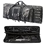 Double Long Rifle Bag Firearm Transportation Case Outdoor Tactical Carbine Cases Water Dust Resistant Long Gun Case Bag,Bag for Hunting Shooting,Available Length in 42'(Black Multicam)
