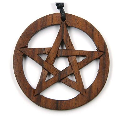 Drachensilber Pentagramm Schmuck Holz keltische Kette Drudenfuß zeitlos natürlich Holzschmuck mit Band magischer Hexenstern Kettenanhänger