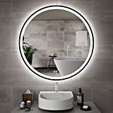 GANPE 40 inch Motion Sensor LED Mirror, Makeup Vanity Mirror Wall Mounted, Large Modern Round Illuminated Dimmable Memory Touch Anti Fog IP44 Waterproof Bathroom Mirror