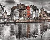 ARTMOM Strasbourg France Villes Monde Peinture numérique Kit de Bricolage Peint à la Main Peinture pour Adultes La décoration créative améliore Les compétences en Dessin 40x50cm avec Cadre