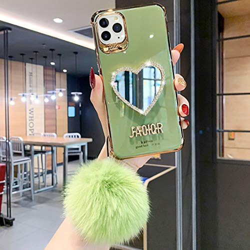 LODIIYAR Luxurious Mirror Case for iPhone 11/12 Pro MAX, Heart-Shaped Makeup Mirror Case, Luxury TPU Silicone Bumper Protective Cover Ultra-Thin Shockproof Anti-Scratch IP 12pro MAX Light Green
