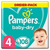 PAMPERS Taille Baby-Dry Couches 4 à 12 Heures pour Protection 9-14 kg 108 Unité
