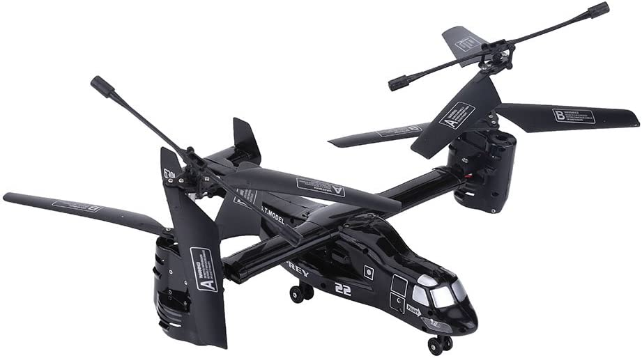 Qiterr 2 Couleurs 2.4G 4.5CH Drone avec caméra vidéo Télécommande Avion RC Avion Aéronef Hélicoptère Modèle de véhicule(Noir) Noir