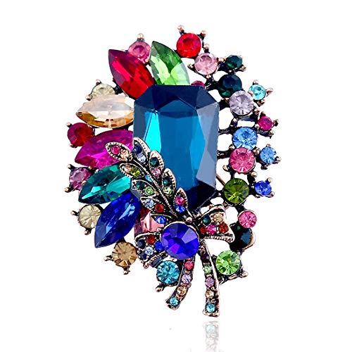 Chezhan -Europa y América del diamante de flores broche de Navidad en tres dimensiones retro exquisito de la aleación llena broche de diamantes de la joyería del regalo del día de Navidad broche colla
