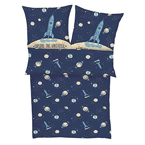 s.Oliver Bettwäsche Rakete 135x200 cm - Kinderbettwäsche blau Satin 100% Baumwolle, Astronaut und Universum, Bettwäsche 2 teiliges Set aus Deckenbezug 135x200cm und Kissenhülle 80x80cm, Reißverschluss