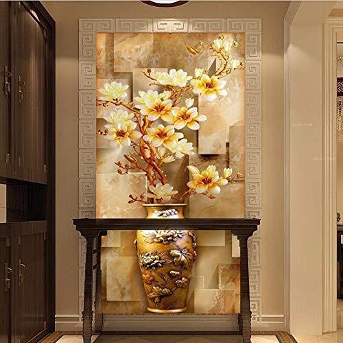 Lxsart Wallpaper Landscape Flash Zilver doek/ingang Stereoscopische 3D Elegante Magnolia vaas Groot muurbehang 400cmx280cm