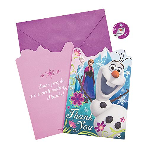 Fun Express - Disney Frozen Thank You Cards for Birthday - Party Supplies - Licensed Tableware - Licensed Invitations - Birthday - 8 Pieces