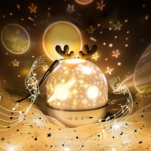 Sternenhimmel Projektor mit Fernbedienung SYOSIN Cute Elf Nachtlichtprojektor eingebauter Musiklautsprecher mit Timer USB-Aufladung Drehbares romantisches Geschenk (Grau-Fernbedienung)