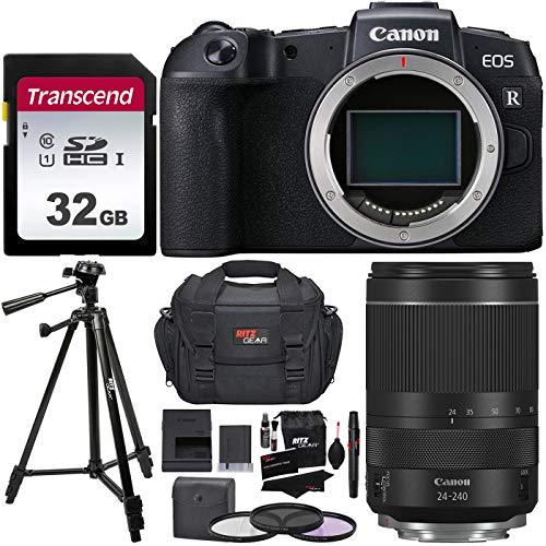 Canon EOS RP com RF 24 – 240 mm f/4 – 6,3 é uma lente USM, cartão de memória Transcend 32 GB 300S, tripé de 127 cm, conjunto de filtro, kit de limpeza e bolsa de câmera