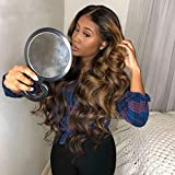 136 150% Deep Part Lace Front Human Hair Wig for Black Women Wavy Wave Ombre Honey Blonde Bleached Knots Brazilian Color Remy Hair (22inch, 13x6 Lace Front Wig)