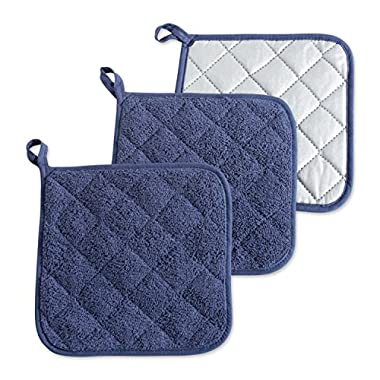 DII 100% Cotton, Machine Washable, Heat Resistant, Everyday Kitchen Basic, Terry Pot Holder, 7 x 7, Set of 3, French Blue, Potholder, 3 Piece