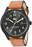 Lacoste Men's Black PVD/IP Quartz Watch with Leather Strap, Brown, 20 (Model: 2011021)