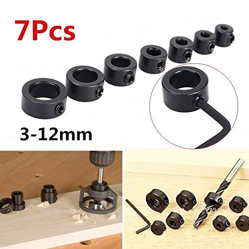 8pcs 3-12mm Trépan Locator Profondeur Butée Colliers Anneau Positionneur + Clé Hexagonale