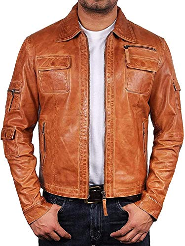 BRANDSLOCK Mens Genuine Biker Leather Jacket Bomber Coat Designer Tan
