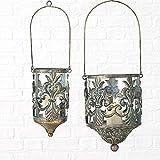 CasaJame Hogar Decoración Accesorios Candelabros Portavelas Design Juego de 2 Linternas Decorativas para Velas Estilo Étnico Hierro Antiguo A23-31cm