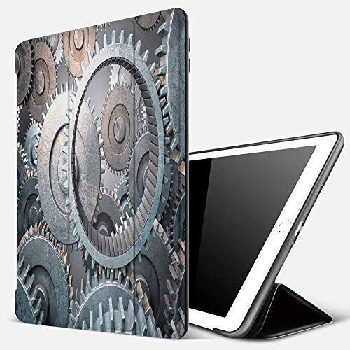 iPad 9.7 inch 2017/2018 Case/iPad Air/Air 2 Cover,3D Image of Rusty Engine Gear,PU Leather Shockproof Shell Stand Smart Cover with Auto Wake