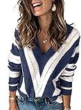 Dokotoo Suéter de Punto para Mujer Suéter Casual con Cuello en V Top cálido Tops Suéter de Rayas Elegante Otoño Invierno Sudadera Azul 2XL