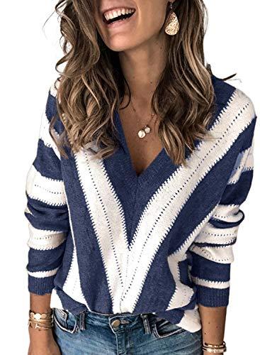 Dokotoo Damen Strickpullover V-Ausschnitt Casual Pullover Warm Oberteil Tops Streifen Sweaters Elegant Herbst Winter Sweatshirt Blau S