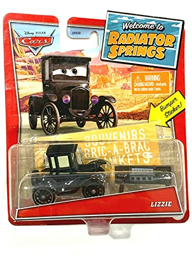 Pixar Cars Lizzie with Bumper Sticker, Welcome to Radiator Springs