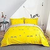 Morbuy Ropa de Cama, 3 Piezas Juego de Ropa de Cama con Funda de Edredón de 1 Microfibra de 2 Funda de Almohada 90% Polyester Diseño de Impresión (220x240CM, Pestañas Amarillas)