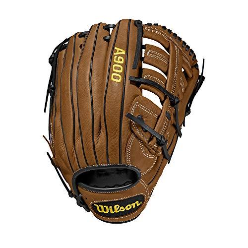 Wilson Baseball-Handschuh, A900, Größe: 12,5 Zoll, Für alle Positionen geeignet, Rechtswerfer, Handschuh für die linke Hand, Leder, Braun