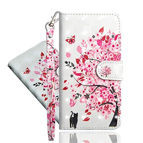 IMEIKONST LG Q7 Hülle PU Leder 3D Muster Magnetic Clasp Schutzhülle bookstyle Card Holder Flip Brieftasche Ständer Tasche Handyhülle für LG Q7 Tree Cat YX