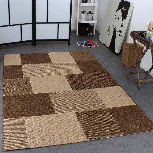 Paco Home In- & Outdoor Teppich Modern Flachgewebe Karo Sisal Optik Natur Beige Creme, Grösse:120x170 cm