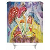 Rubyia Cortina Ducha Poliester, Setas Bathroom Curtains, Anillos de Cortina Incluidos, Amarillo Púrpura, 165x180cm